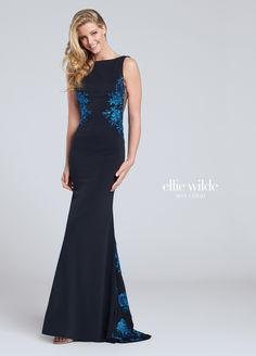 Ellie Wilde EW117140 - Sleeveless jersey fit and flare gown with bateau neckline, embroidered design on side bodice and down center back skirt, sheer midriff sides, deep plunging back finished with crisscross.
