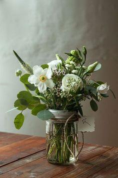 mason jar vase, white flowers, greenery