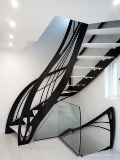 Looking for Staircase Design Inspiration? Check out our photo gallery of Modern Stair Railing Ideas. Black Stair Railing, Interior Stair Railing, Staircase Railings, Stairways, Banisters, Stair Treads, Spiral Stairs Design, Staircase Design, Stair Design