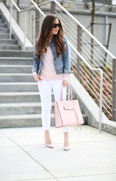 buy online c1811 2154f Outfits blanco y rosa que endulzarán tu malhumor Pantalón Blanco Mujer,  Pantalones Rosa, Zapatos