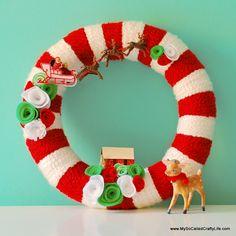 DIY Retro Christmas Yarn Wreath - my so-called crafty life Christmas Wreath Image, Outdoor Christmas Wreaths, Christmas Ribbon, Retro Christmas, Holiday Wreaths, Handmade Christmas, Christmas Crafts, Christmas Decorations, Christmas Ornaments
