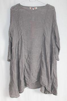 cocon.commerz PRIVATSACHEN VOGELNETT Kleid aus Plissée-Leinen in grau Gr. 1
