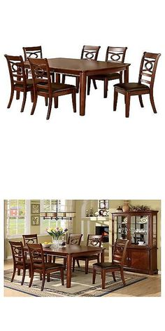 Sets 98478 9Piece Elegant Fabric Dining Set Wood Brown Cherry Brilliant Cherry Wood Dining Room Set Design Ideas