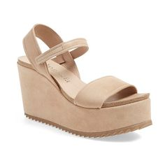 Pedro Garcia 'Dorothy' Wedge (£310) ❤ liked on Polyvore featuring shoes, sandals, light camel suede, strap wedge sandals, platform sandals, suede wedge sandals, platform wedge sandals and wedge heel sandals