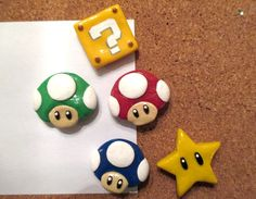 Super mario bros handmade polymer clay magnets by bonedustnglitter