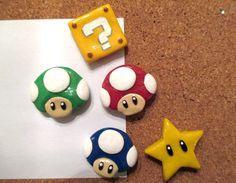 Super mario bros handmade polymer clay magnets by bonedustnglitter