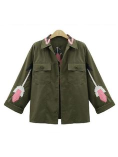 Women Casual Embroidery Single Breasted Turn Down Collar Long Sleeve Coat - Gchoic.com