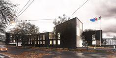 OPERASTUDIO - Project - CityLIfe Police Station - View #render #black #bricks #white #steel  #autumn #rain #Milan #Italy