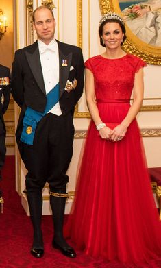 Kate Middleton Dazzles in Festive Red Gown and Princess Diana's Tiara at Diplomatic Reception
