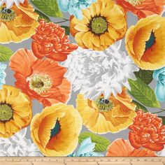 Tempo Poppies Twill Grey/Orange from @fabricdotcom  Screen printed on cotton twill; this versatile lightweight fabric is perfect for window treatments (draperies, valances, curtains and swags), toss pillows, duvet covers, some upholstery and other home decor accents. Create handbags, apparel (skirts, lightweight jackets, pants) and aprons. Colors include marigold, orange, aqua, white, brown, green, teal and grey.