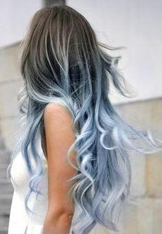 Tie and die balayage // blue hair