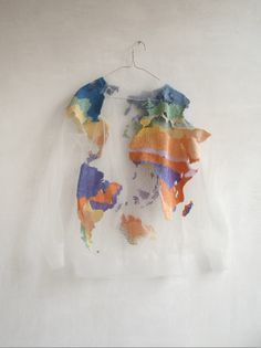 sweater clothes colorful planet see through bag clear map tumblr cute crewneck white t-shirt world map world shirt