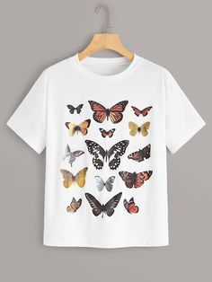 To find out about the Butterfly Print Short Sleeve Tee at SHEIN, part of our latest T-Shirts ready to shop online today! Butterfly Shirts, Butterfly Print, Printed Tees, Printed Shorts, Latest T Shirt, T Shirts For Women, Clothes For Women, Women's Clothes, Direct To Garment Printer