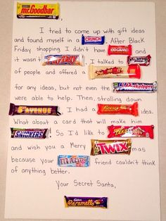 DIY Secret Santa Gifts - Simple & Sweet candy card for a secret santa gift! Perfect homemade gift for all ages girls, boys, teens, kids, adults! Quick and easy