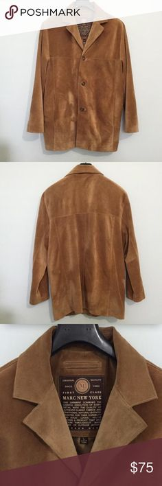 Andrew Marc Suede Dress Jacket Excellent condition, was too big for my husband so he never wore it. Camel suede jacket. Andrew Marc Jackets & Coats