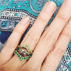 Pear Shaped Diamond with Emeralds stacked with one large and small Emerald Bird Ring Pear Shaped Diamond, Wedding Styles, Class Ring, Wedding Bands, Gold Rings, Rings For Men, Jewels, Engagement, Emeralds