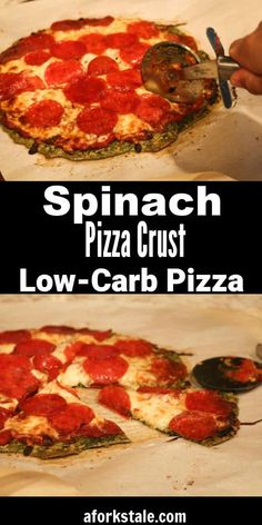 This spinach pizza crust is a low carb pizza crust recipe. Add your favorite pizza toppings and it tastes just like a real pizza. #lowcarb #lowcarbpizza #aforkstale Healthy Crockpot Recipes, Veggie Recipes, Lunch Recipes, Baby Food Recipes, Paleo Recipes, Low Carb Recipes, Pizza Recipes, Best Dinner Recipes, Amazing Recipes