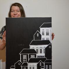 """""""Little Hill"""" acrylic painting by Hammi´s Design.  Mustavalkoinen taloaiheinen akryylimaalaus.   #bnw #talo #house #city #sisustus #hammisdesign Paintings, House, Design, Paint, Home, Painting Art, Painting, Painted Canvas"""