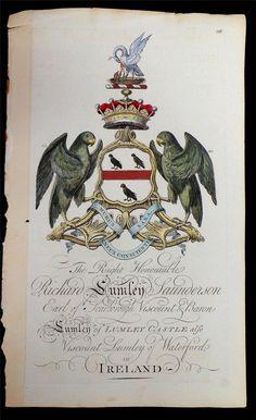 Coat of arms of Richard Lumley-Saunderson (1725-1782), 4th Earl of Scarbrough (E 1690), Joseph Edmondson's Baronagium Genealogium, London, 1764-1784.