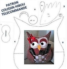 Make an owl cushion remote control - Nafeuse' magazine Coin Couture, Couture Sewing, Small Sewing Projects, Sewing Hacks, Owl Crafts, Diy And Crafts, Owl Sewing Patterns, Fabric Crafts, Sewing Crafts