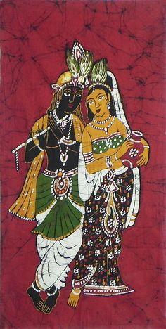 Radha+Krishna+(Batik+Painting+on+Cotton+Cloth+-+Unframed)