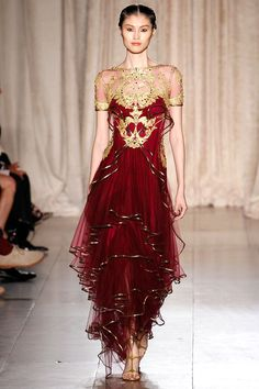 Gold and Red Dress by Marchesa