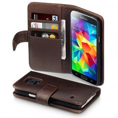Brown Genuine Leather Wallet Case for Samsung S5 with card slots