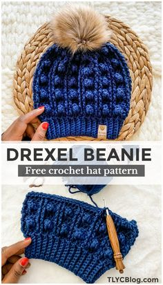 Drexel Beanie - FREE Crochet Hat Pattern Want to try an easy chunky crochet hat pattern? Then the Drexel Beanie is for you. Beginner friendly and super fast to crochet, this slouchy beanie will become one of your favorites. Crochet Crafts, Yarn Crafts, Crochet Yarn, Crochet Projects, Crochet Dolls, Crotchet, Knitting Projects, Knitted Fabric, Chunky Crochet Hat