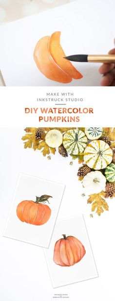 Watercolor pumpkin tutorial | Inkstruck Studio for Dawn Nicole Designs