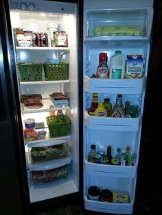 My fridge! Neat and Organized using Dollar Tree bins.