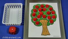 childcareland blog: Apple Roll and Pick, apple pom pom math dice game, apple preschool game