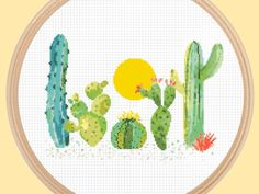 Cacti Under the Sun  This is one of my favorite patterns. This cacti cross stitch is so beautiful and is lots of fun to stitch. It is simple enough that it doesnt take too much time to complete, but it still has lots of detail and charm to it. Pattern Specifics: ------------------------ Colors: 20 DMC threads Size: 10.7 x 7.7 in. / 27.2 x 19.6 cm. Chart Size: 150 x 108 Canvas: 14-count  This pattern also comes as a kit: https://www.etsy.com/listing/499490852/cact...