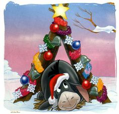 Eeyore at Christmas time Winnie The Pooh Christmas, Disney Christmas, Christmas Love, A Christmas Story, Christmas Pictures, Christmas Greetings, Winne The Pooh, Winnie The Pooh Quotes, Winnie The Pooh Friends