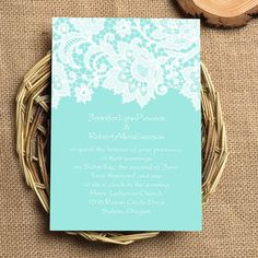 "elegant tiffany blue lace wedding invitations EWI335 as low as $0.94//Use coupon code ""rpin"" to get 10% off towards all the invitations. #elegantweddinginvites #TiffanyBlueWeddings"