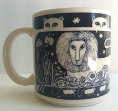 Vtg 1978 Taylor & Ng Coffee Mug Lion Cheetah Cats