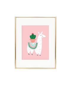 Cute pink llama and cactus print. Darling nursery wall art too! alexazdesign Alexa Z Design Nursery Prints, Nursery Wall Art, Nursery Decor, Llama Decor, Llama Arts, Llama Print, Cactus Wall Art, Art Mural, Illustrations