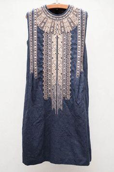 Navy Embroidered Jacquard Dress