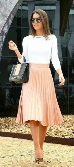 #spring #outfits White Top + Blush Pleated Skirt