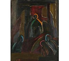 """Opal O\'Brien Shuman (American, deceased), dark figural abstract, oil on board.  20\"""" x 15 1/2\"""".  Signed lower right.  Self-taught Hoosier Salon artist from Anderson, Indiana."""