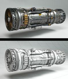 Engine by Oleg Moskvitin , via Behance Spaceship Concept, Robot Concept Art, Environment Concept Art, Concept Ships, Mechanical Design, Mechanical Engineering, Zbrush, Polygon Modeling, Futuristic Robot