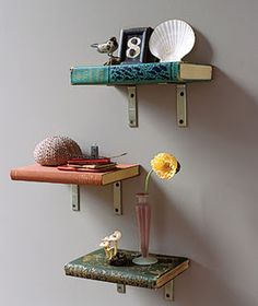 I might use different brackets but love the upcycled book shelves