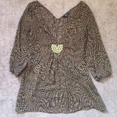 EXPRESS BEADED TUNIC Sheer material with gold threading to give it shimmer. Beautiful beaded detailing. Express Tops Tunics