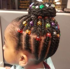 Beautiful color beads to accent cornrow updo/bun. Lil Girl Hairstyles, Girls Natural Hairstyles, Natural Hairstyles For Kids, Natural Hair Styles For Black Women, Kids Braided Hairstyles, Princess Hairstyles, Short Hair Styles, Toddler Hairstyles, Children Hairstyles