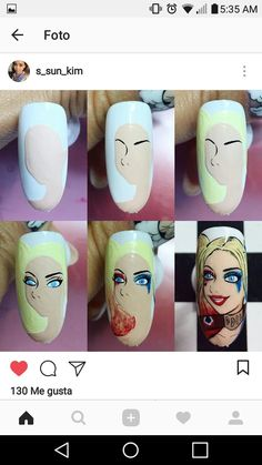Nail Drawing, Funky Nails, Disney Nails, Press On Nails, Pop Art, Nail Designs, Princesses, Faces, Makeup