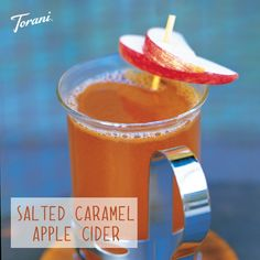 Salted Caramel Hot Apple Cider - 1.5 cups of apple cider and 1.5 tablespoons of Torani Salted Caramel syrup! Heat and enjoy!
