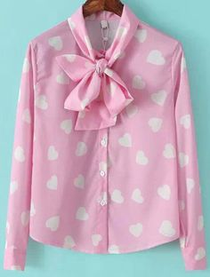 Pink Tie-neck Long Sleeve Hearts Print Blouse