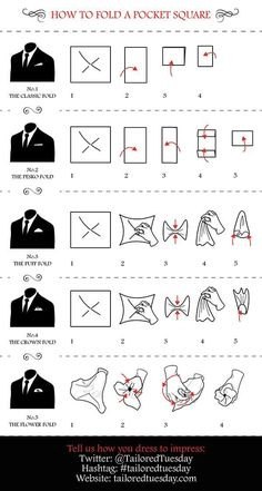 Cool #infographic from @TailoredTuesday 'How to fold a Pocket Square' #tailoredtuesday #infografía