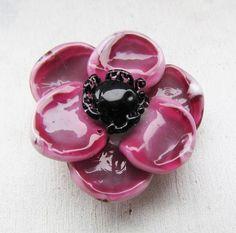 Pink anemone pink with black lampwork bead handmade artisan