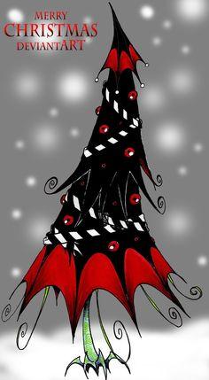 Goth Christmas Tree by Boredman.deviantart.com ¸.•♥•.  www.pinterest.com/WhoLoves/Christmas  ¸.•♥•.¸¸¸ツ #Christmas