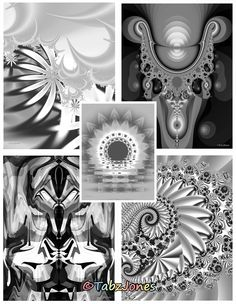 fractal art adult coloring book by tabz jones twenty five highly detailed grayscale coloring pages feature - Fractal Coloring Book